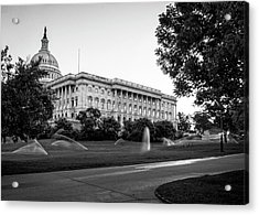Capitol Hill Sprinklers In Black And White Acrylic Print by Greg Mimbs