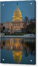Acrylic Print featuring the photograph Capitol Reflection At Christmas by Cindy Lark Hartman