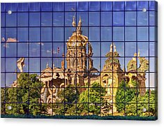 Acrylic Print featuring the photograph Capitol Reflection - Iowa by Nikolyn McDonald