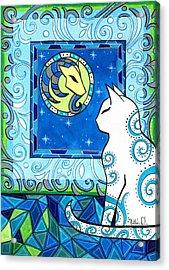 Capricorn Cat Zodiac Acrylic Print