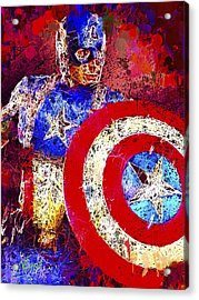 Acrylic Print featuring the mixed media Captain America by Al Matra