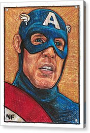 Captain America As Portrayed By Actor Chris Evans Acrylic Print by Neil Feigeles
