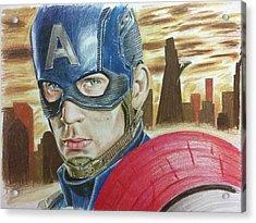 Captain America Acrylic Print by Michael McKenzie