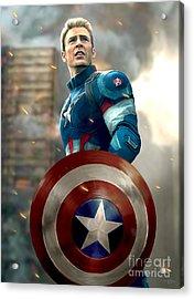 Captain America - No Helmet Acrylic Print by Paul Tagliamonte