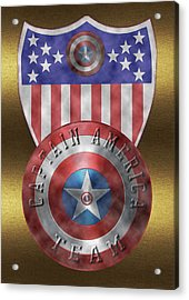 Acrylic Print featuring the painting Captain America Shields On Gold  by Georgeta Blanaru