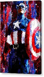 Captain America Signed Prints Available At Laartwork.com Coupon Code Kodak Acrylic Print by Leon Jimenez