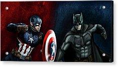 Captain America Vs Batman Acrylic Print by Vinny John Usuriello