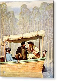 Captain Flood At A Meeting In A Cutter Acrylic Print by Newell Convers Wyeth