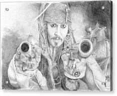 Captain Jack Sparrow And The Black Pearl Acrylic Print