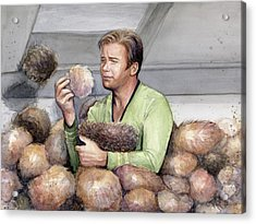 Captain Kirk And Tribbles Acrylic Print