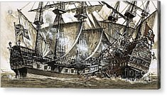 Captain Maynard's Sloop Bore Down On The Pirate Ship Acrylic Print by Clive Uptton