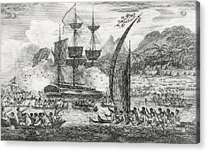 Captain Wallis Attacked By The Indians, 1767  Acrylic Print