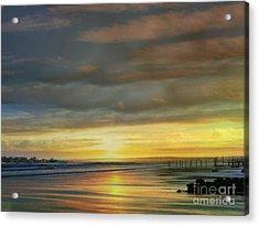 Captivating Sunset Over The Harbor Acrylic Print by Judy Palkimas