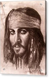 Acrylic Print featuring the drawing Capt.jack by Jack Skinner