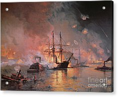 Capture Of New Orleans By Union Flag Officer David G Farragut Acrylic Print by Julian Oliver Davidson
