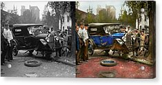 Car Accident - It Came Out Of Nowhere 1926 - Side By Side Acrylic Print