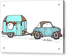 Car And Camper Blue Acrylic Print