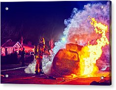 Acrylic Print featuring the photograph Car Arson  by TC Morgan