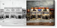 Acrylic Print featuring the photograph Car - Garage - Hendricks Motor Co 1928 - Side By Side by Mike Savad