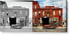 Acrylic Print featuring the photograph Car - Garage - Misfit Garage 1922 - Side By Side by Mike Savad