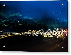 Car Light Trails At Dusk In City Acrylic Print by John Williams
