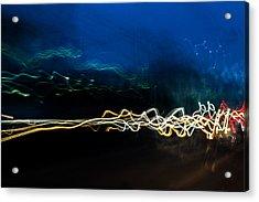 Car Light Trails At Dusk In City Acrylic Print