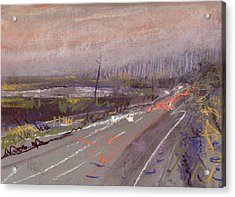 Car Lights And Rainy Nights Acrylic Print