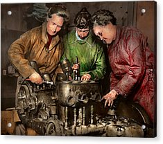 Car Mechanic - In A Mothers Care 1900 Acrylic Print by Mike Savad