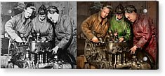 Car Mechanic - In A Mothers Care 1900 - Side By Side Acrylic Print by Mike Savad