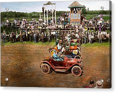 Car - Race - On The Edge Of Their Seats 1915 Acrylic Print by Mike Savad