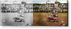 Car - Race - On The Edge Of Their Seats 1915 - Side By Side Acrylic Print by Mike Savad