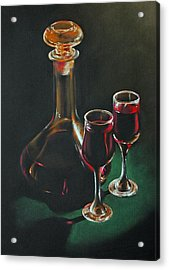 Carafe And Glasses Acrylic Print by Alan Stevens
