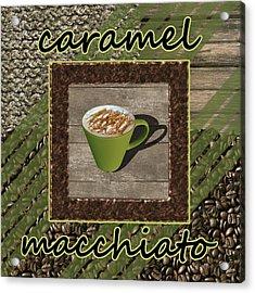 Caramel Macchiato - Coffee Art - Green Acrylic Print by Anastasiya Malakhova