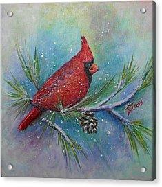 Cardinal And Delta Snow Acrylic Print by Sheri Hubbard
