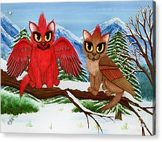 Acrylic Print featuring the painting Cardinal Cats by Carrie Hawks