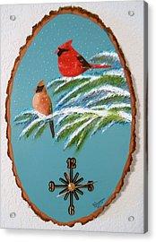 Cardinal Clock Acrylic Print by Al  Johannessen