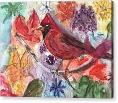Cardinal In Flowers Acrylic Print
