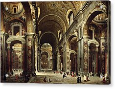 Cardinal Melchior De Polignac Visiting St Peters In Rome Acrylic Print by Giovanni Paolo Pannini or Panini