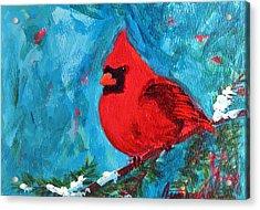 Cardinal Red Bird Watercolor Modern Art Acrylic Print