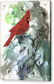 Acrylic Print featuring the painting Cardinal by Sherry Shipley