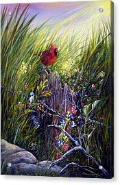 Cardinal Acrylic Print by Theresa Jefferson