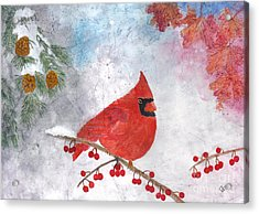 Cardinal With Red Berries And Pine Cones Acrylic Print
