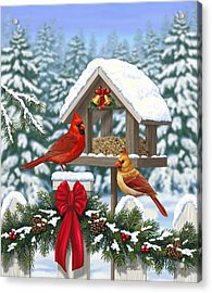 Cardinals Christmas Feast Acrylic Print by Crista Forest