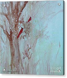 Acrylic Print featuring the painting Cardinals In Trees Whilst Snowing by Robin Maria Pedrero