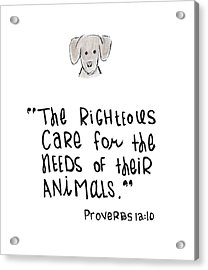 Acrylic Print featuring the drawing Care For Animals by Nancy Ingersoll