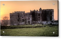 Carew Castle Coral Sunset Acrylic Print