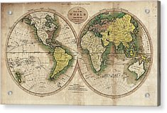 Acrylic Print featuring the photograph Carey's Map Of The World  1795 by Daniel Hagerman