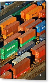 Acrylic Print featuring the photograph Cargo Containers by Songquan Deng