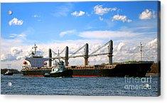 Cargo Ship And Tugboats  Acrylic Print