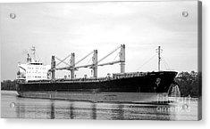 Cargo Ship On River Acrylic Print